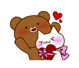 The bear and cat to love sticker #2888479