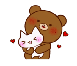 The bear and cat to love sticker #2888486