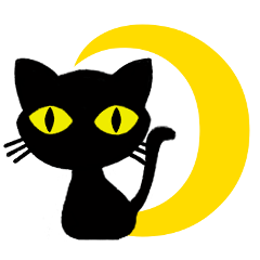 Moon and black cat