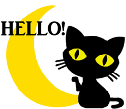 Moon and black cat sticker #2910428
