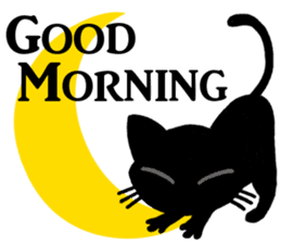 Moon and black cat sticker #2910429