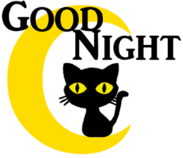 Moon and black cat sticker #2910430