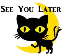 Moon and black cat sticker #2910431