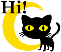 Moon and black cat sticker #2910434