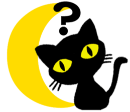 Moon and black cat sticker #2910435