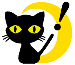 Moon and black cat sticker #2910436
