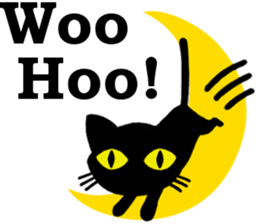 Moon and black cat sticker #2910437