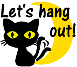 Moon and black cat sticker #2910438