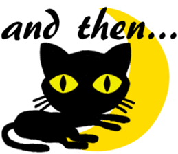 Moon and black cat sticker #2910442