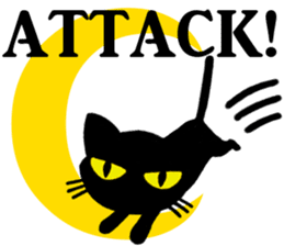 Moon and black cat sticker #2910444