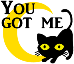Moon and black cat sticker #2910447