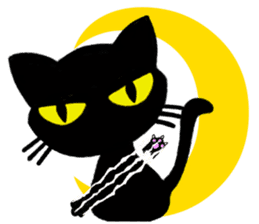 Moon and black cat sticker #2910450