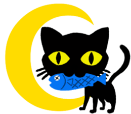 Moon and black cat sticker #2910451