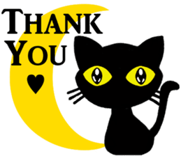 Moon and black cat sticker #2910452