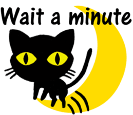Moon and black cat sticker #2910455