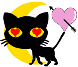 Moon and black cat sticker #2910457