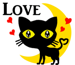 Moon and black cat sticker #2910458