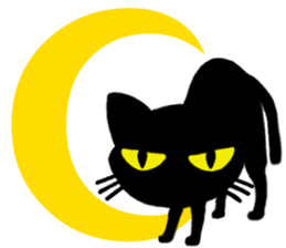 Moon and black cat sticker #2910459