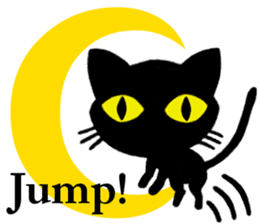 Moon and black cat sticker #2910462