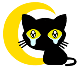 Moon and black cat sticker #2910463