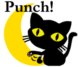 Moon and black cat sticker #2910464