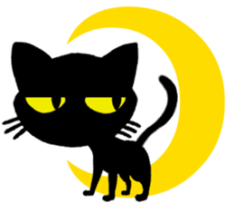 Moon and black cat sticker #2910465