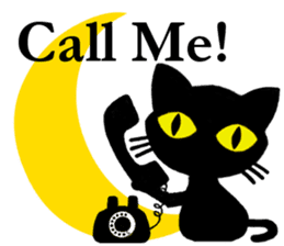 Moon and black cat sticker #2910466
