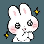 สติ๊กเกอร์ไลน์ Expressive face rabbit sticker