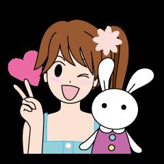 Moe-chan and her stuffed rabbit