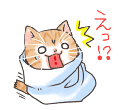 Cat in towel sticker #2996017