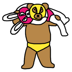Bear & Rabbit wrestler