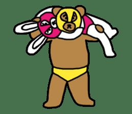 Bear & Rabbit wrestler sticker #3074343