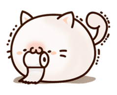 Sticker of a round and pretty cat sticker #3130148