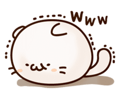 Sticker of a round and pretty cat sticker #3130169