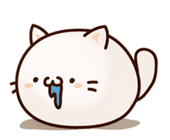 Sticker of a round and pretty cat sticker #3130170