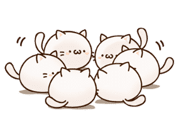Sticker of a round and pretty cat sticker #3130186