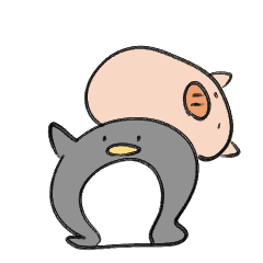 slime pig and penguin