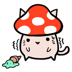 Cat&Mushroom Sticker