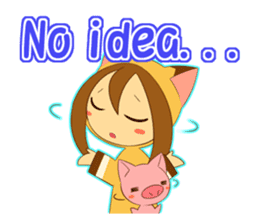 Cat anime girl and cute pig sticker #3323683