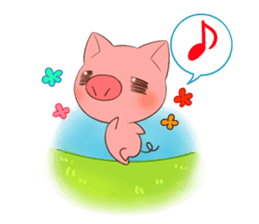 Cat anime girl and cute pig sticker #3323687