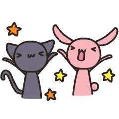Rabbit and cat events Sticker