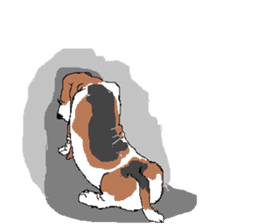 Very cute sisters of Basset Hound. sticker #3674538