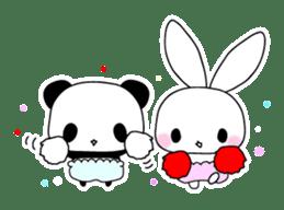 Small baby rabbit and panda sticker #3685337