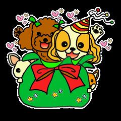 Christmas sticker of a pet