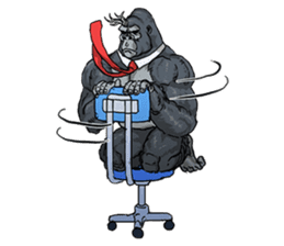 Office worker gorilla sticker #3770602