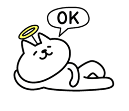 Cat lying down 6 angel version sticker #3866963