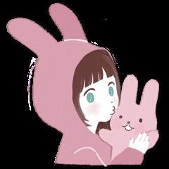 Fluffy bunny & Girl