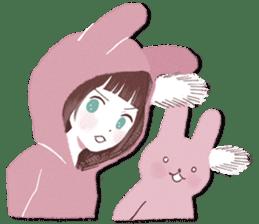 Fluffy bunny & Girl sticker #3879616