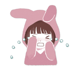 Fluffy bunny & Girl sticker #3879629