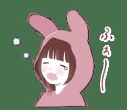 Fluffy bunny & Girl sticker #3879636